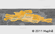 Political Shades Panoramic Map of Kampong Cham, darken, desaturated