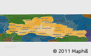 Political Shades Panoramic Map of Kampong Cham, darken