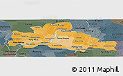 Political Shades Panoramic Map of Kampong Cham, darken, semi-desaturated