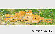 Political Shades Panoramic Map of Kampong Cham, satellite outside