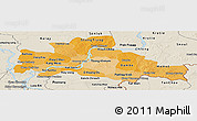 Political Shades Panoramic Map of Kampong Cham, shaded relief outside