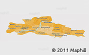 Political Shades Panoramic Map of Kampong Cham, single color outside