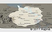 Shaded Relief Panoramic Map of Kampong Chhnang, darken