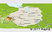 Shaded Relief Panoramic Map of Kampong Chhnang, physical outside