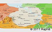 Shaded Relief Panoramic Map of Kampong Chhnang, political shades outside