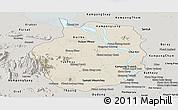 Shaded Relief Panoramic Map of Kampong Chhnang, semi-desaturated