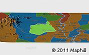 Political Panoramic Map of Samaki Meanchey, darken