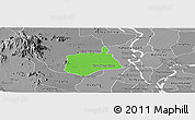 Political Panoramic Map of Samaki Meanchey, desaturated