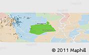 Political Panoramic Map of Samaki Meanchey, lighten
