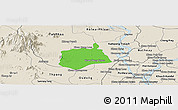 Political Panoramic Map of Samaki Meanchey, shaded relief outside