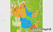 Political Map of Kampong Speu, physical outside