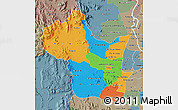Political Map of Kampong Speu, semi-desaturated