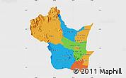 Political Map of Kampong Speu, single color outside