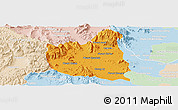 Political Panoramic Map of Oral, lighten
