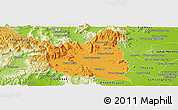 Political Panoramic Map of Oral, physical outside