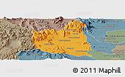 Political Panoramic Map of Oral, semi-desaturated