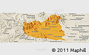 Political Panoramic Map of Oral, shaded relief outside