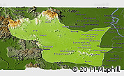 Physical Panoramic Map of Kampong Speu, darken