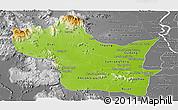 Physical Panoramic Map of Kampong Speu, desaturated