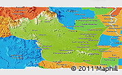 Physical Panoramic Map of Kampong Speu, political outside