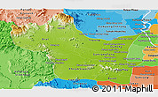 Physical Panoramic Map of Kampong Speu, political shades outside