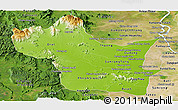 Physical Panoramic Map of Kampong Speu, satellite outside