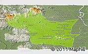 Physical Panoramic Map of Kampong Speu, semi-desaturated