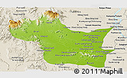Physical Panoramic Map of Kampong Speu, shaded relief outside