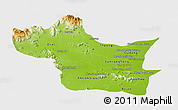 Physical Panoramic Map of Kampong Speu, single color outside