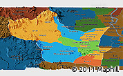 Political Panoramic Map of Kampong Speu, darken
