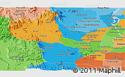 Political Panoramic Map of Kampong Speu, political shades outside