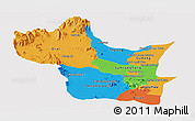 Political Panoramic Map of Kampong Speu, single color outside
