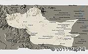 Shaded Relief Panoramic Map of Kampong Speu, darken