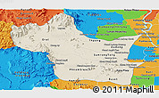 Shaded Relief Panoramic Map of Kampong Speu, political outside