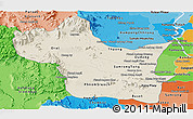 Shaded Relief Panoramic Map of Kampong Speu, political shades outside