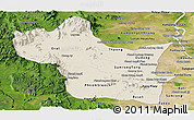 Shaded Relief Panoramic Map of Kampong Speu, satellite outside