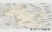 Shaded Relief Panoramic Map of Kampong Speu, semi-desaturated