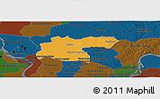 Political Panoramic Map of Baray, darken