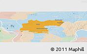 Political Panoramic Map of Baray, lighten