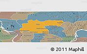Political Panoramic Map of Baray, semi-desaturated