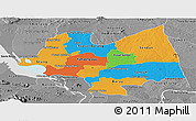 Political Panoramic Map of Kampong Thom, desaturated