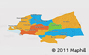 Political Panoramic Map of Kampong Thom, single color outside