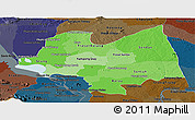 Political Shades Panoramic Map of Kampong Thom, darken