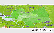 Political Shades Panoramic Map of Kampong Thom, physical outside