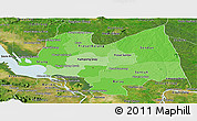 Political Shades Panoramic Map of Kampong Thom, satellite outside