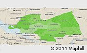 Political Shades Panoramic Map of Kampong Thom, shaded relief outside