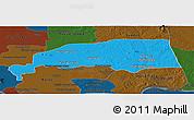 Political Panoramic Map of Santuk, darken