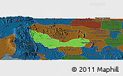 Political Panoramic Map of Chhouk, darken