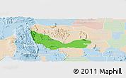 Political Panoramic Map of Chhouk, lighten