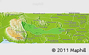 Political Panoramic Map of Chhouk, physical outside